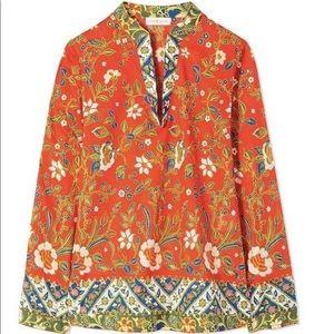 Tory Burch Stephanie Floral Silk Tunic - Size 12